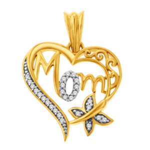 "10K 0.08CT D-PENDANT LDS RDS ""MOM"""