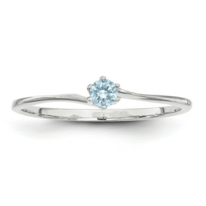 14k White Gold 3mm Synthetic Family Jewelry Ring