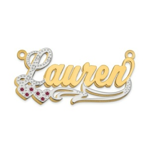 14k 3-Dimensional Diamond And Ruby Name Plate Pendant