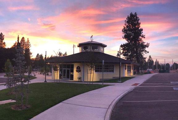 Beautiful building at sunset