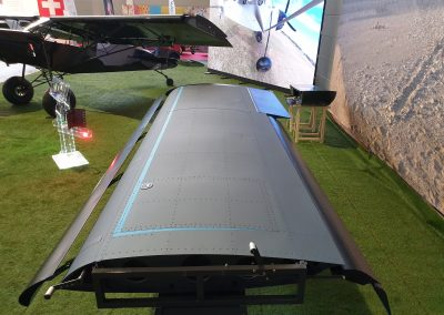 Photo of Savage Norden all-metal wing with electrically operated leading edge slat and double-slotted flap.