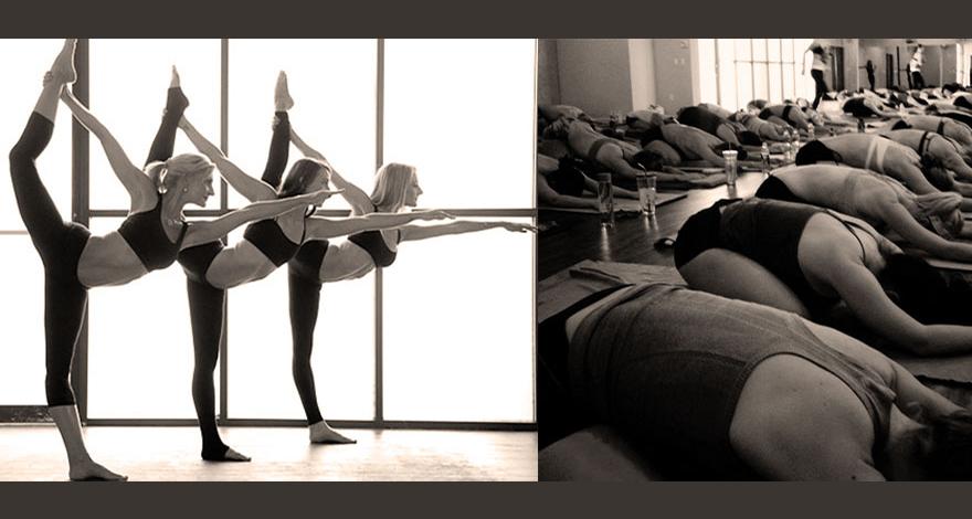 three women in oc yoga class stretching