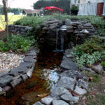 The beautiful new waterfall and fish pond