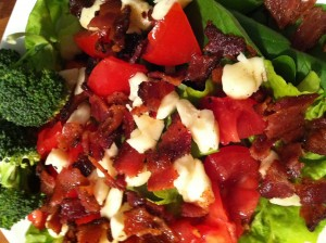 Mixed Greens with Crumbled Jalapeno Bacon, Tomato, Cheese Curds and Vinaigrette