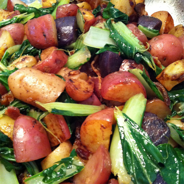 Jalapeno bacon, fingerling potato, bok choy, scallion and garlic stir-fry