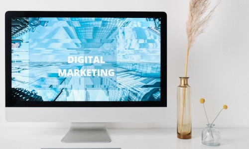 """Computer screen with the words """"Digital Marketing"""""""
