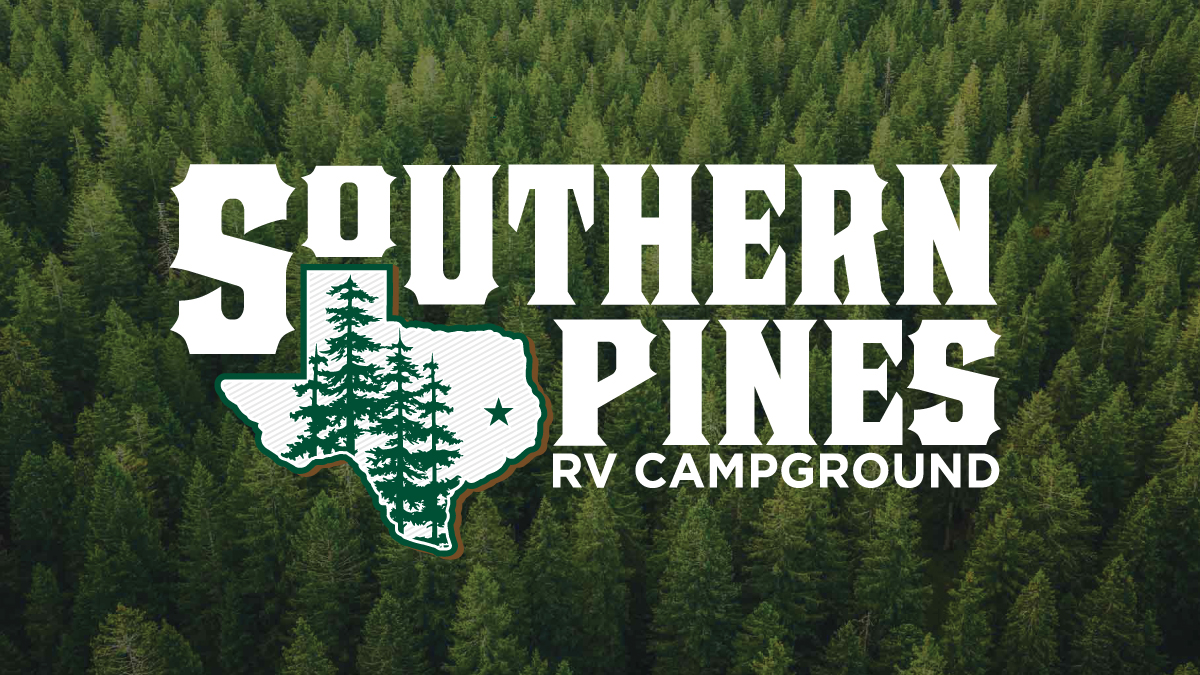 Southern Pines RV Campground logo over an arial view of pine forrest - Lufkin, TX area - located in Hudson, Texas