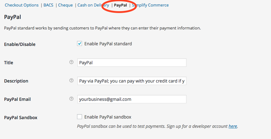 woocommerce checkout settings paypal