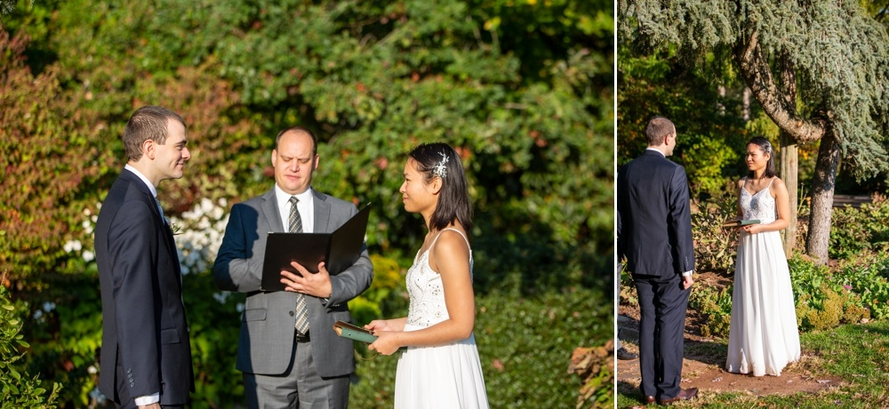 couple getting married in an elizabeth park elopement ceremony