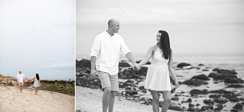 color and black and white engagement photos