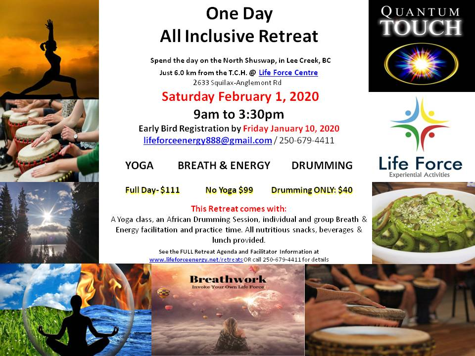 All Inclusive RETREAT- Yoga, Breath, Energy, & Drumming