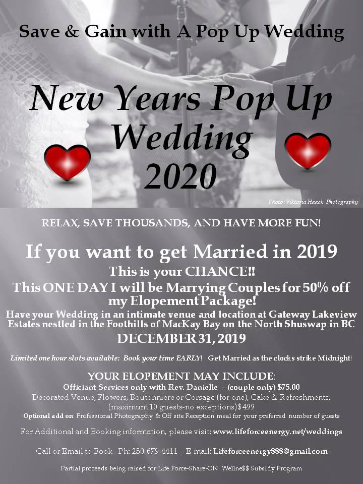 New Years Eve Pop Up Wedding 2020