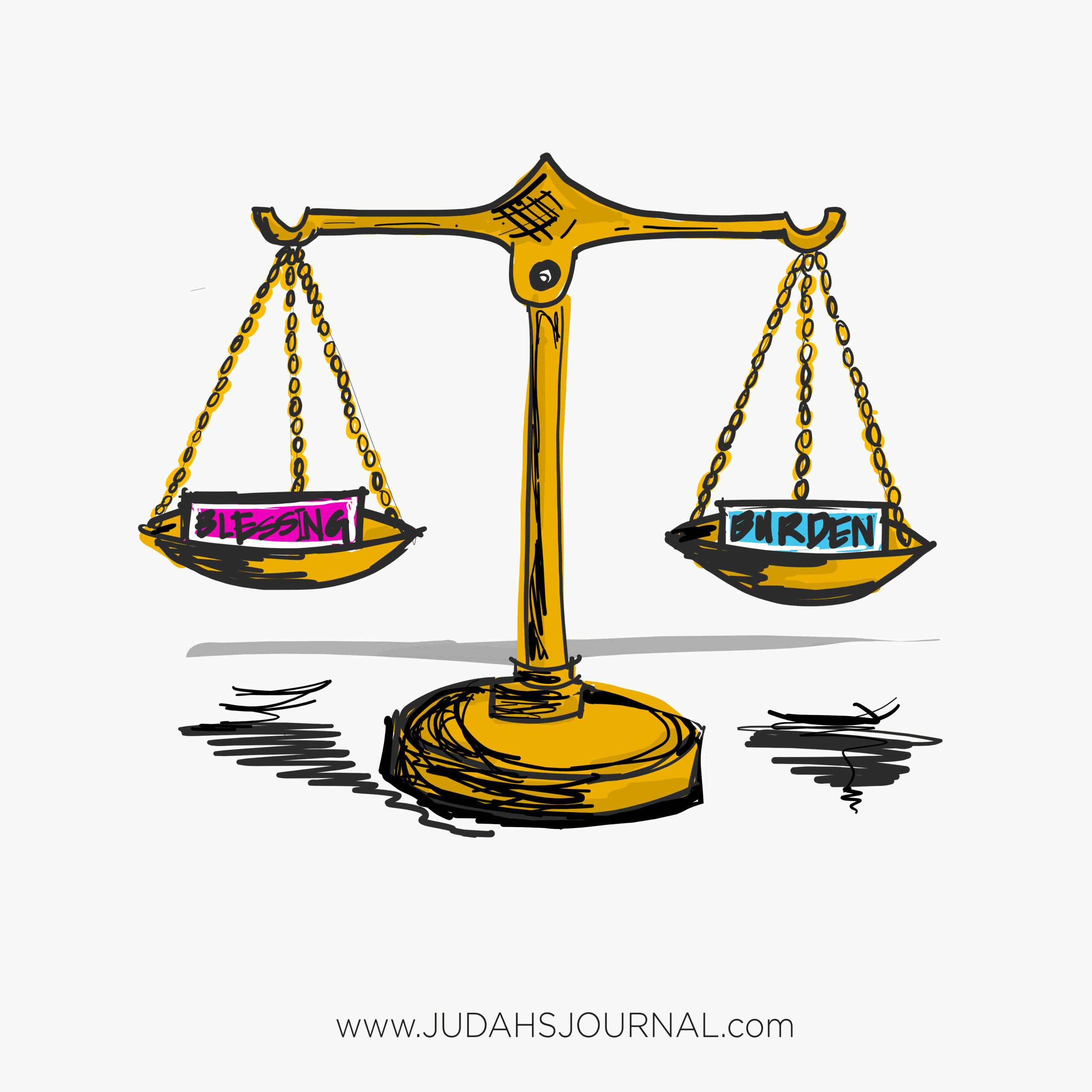 Justice scale; blessings;burdens