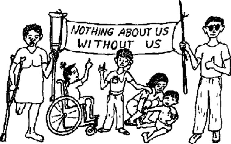 """Cartoon of disabled people holding a banner with """"Nothing about us without us"""" on it."""