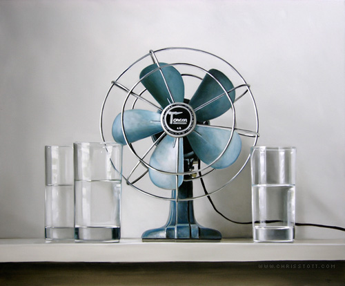 """Vintage Electric Fan, Three Glasses of Water 30"""" x 36"""" — Oil/Canvas — 2009"""
