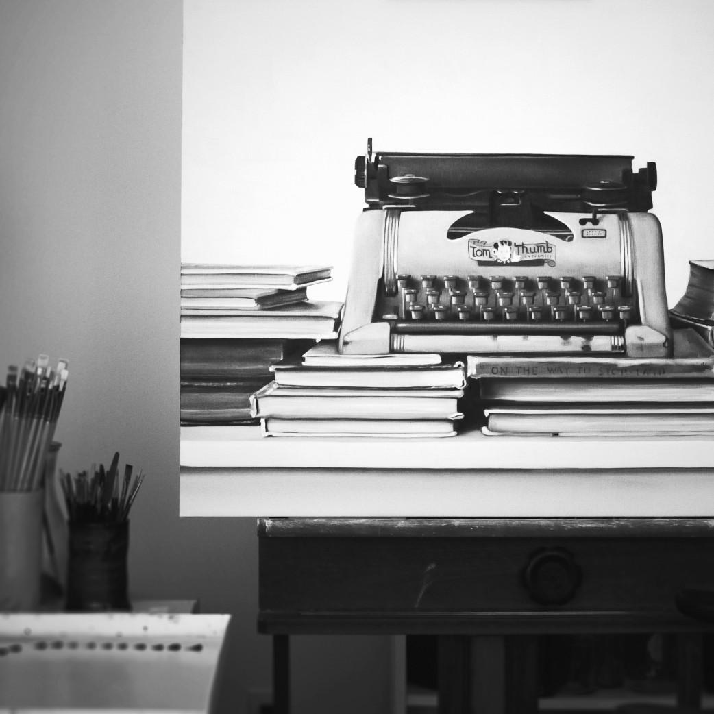Tom Thumb typewriter painting.