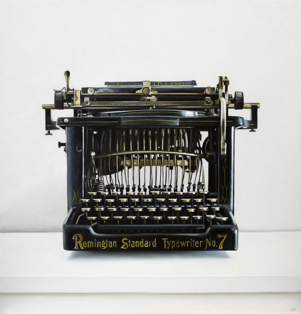 Christopher Stott Painting / Remington Typewriter / 30 x 30 / oil on canvas
