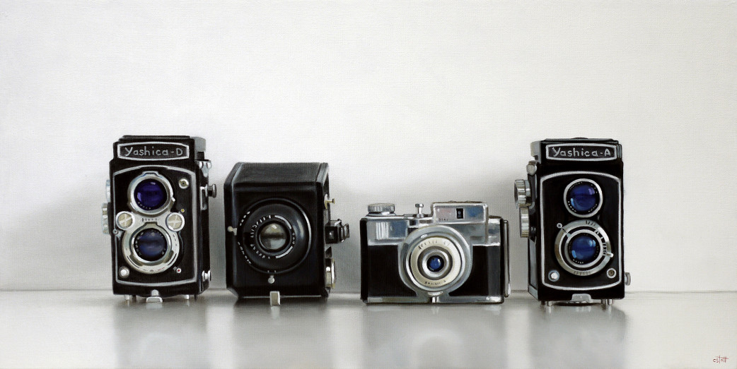 Christopher Stott Painting / Yashica, Kodak and Bencini Cameras / 12 x 24 / oil on canvas