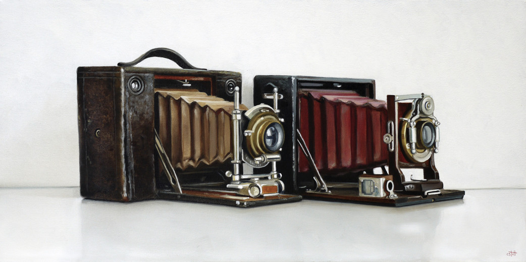 Christopher Stott Painting / Antique Kodak Cameras / 12 x 24 / oil on canvas