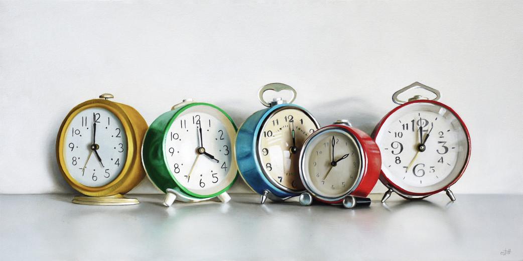Christopher Stott Painting / Five Vintage Clocks / 12 x 24 / oil on canvas