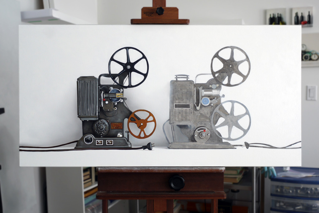 Two Vintage Film Projectors Oil Painting in Progress by Christopher Stott