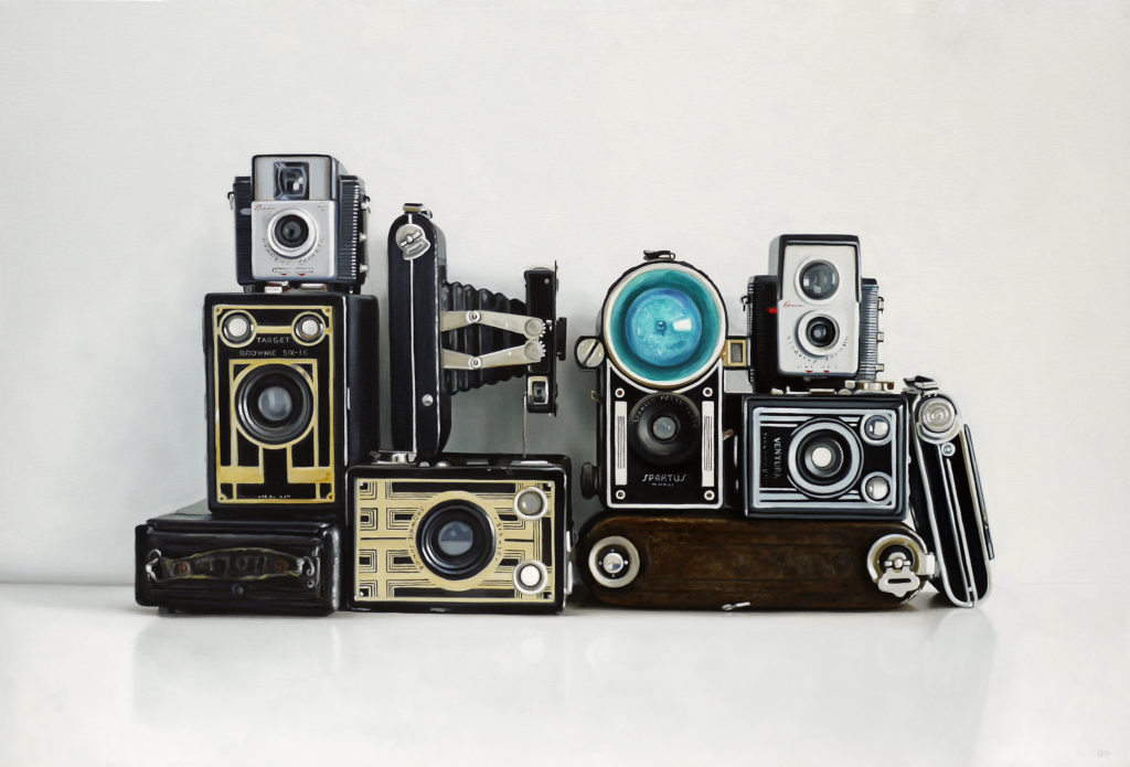 Ten Vintage Cameras Oil Painting by Christopher Stott