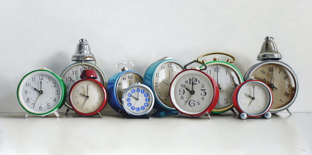 Ten Vintage Alarm Clocks Oil Painting by Christopher Stott
