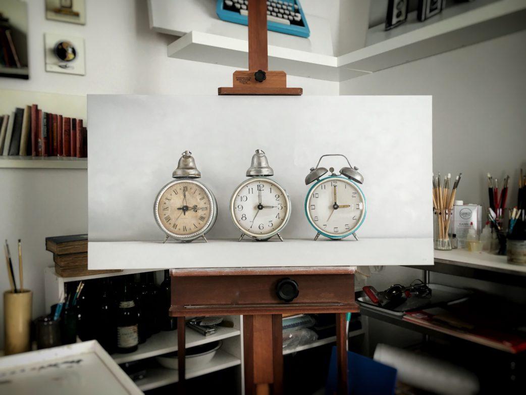 Three Vintage Alarm Clocks Oil Painting by Christopher Stott