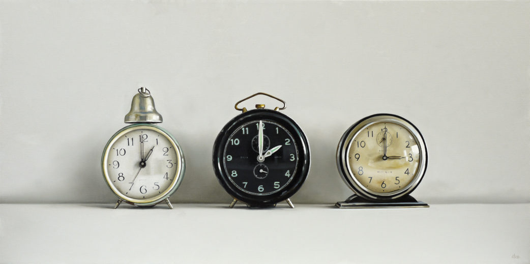 Three Vintage Clocks Oil Painting by Christopher Stott
