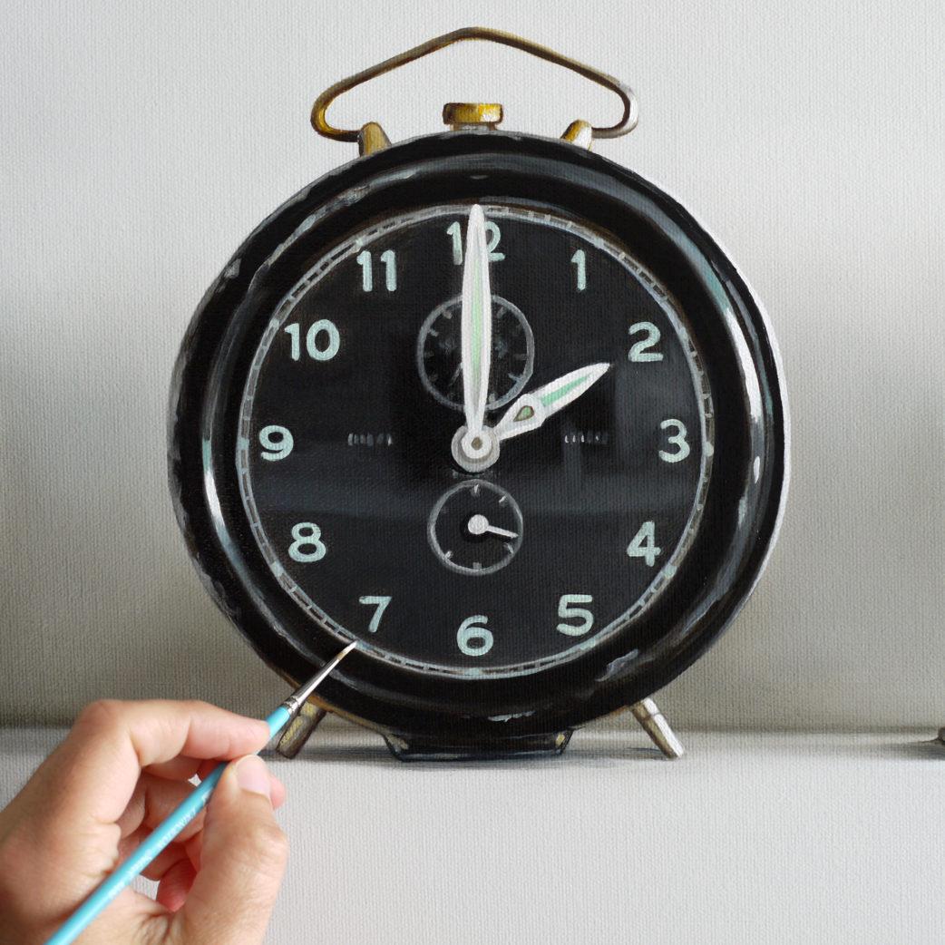 Vintage Alarm Clock Painting in Progress
