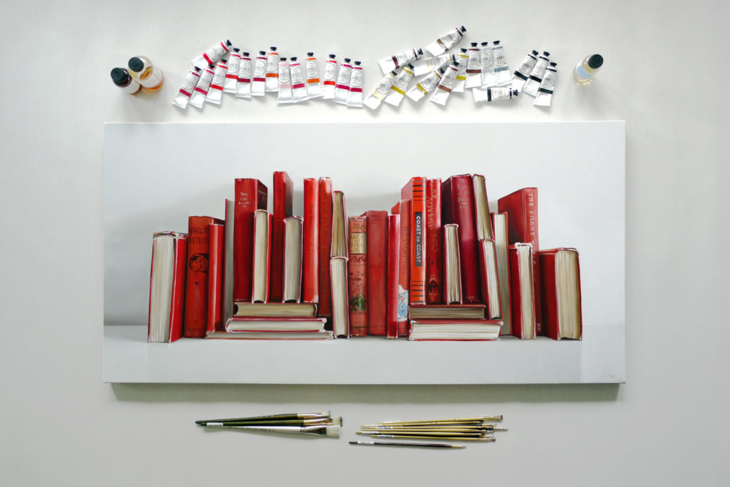 Red Books Painting by Christopher Stott