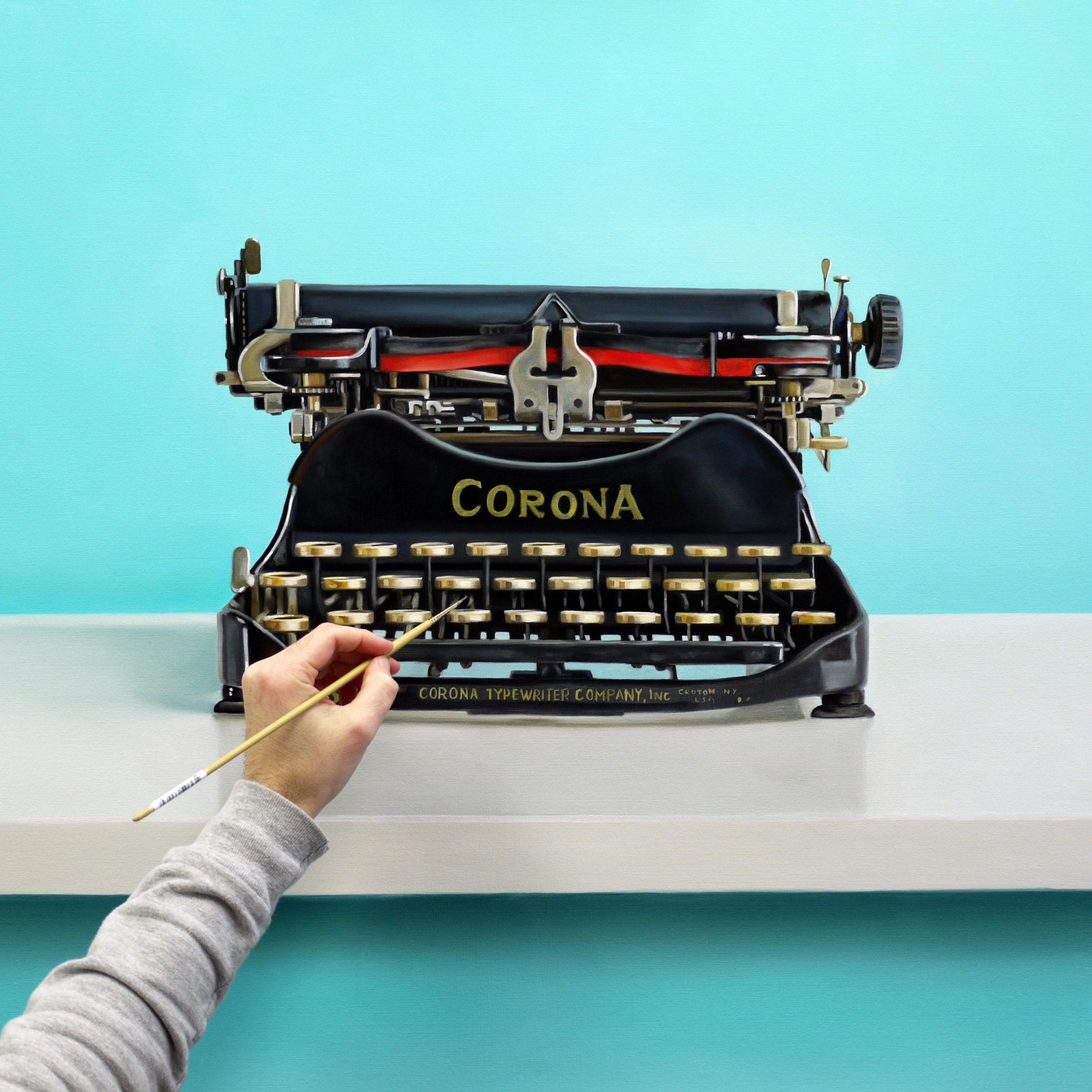 Corona Typewriter Painting Work in Progress by Christopher Stott