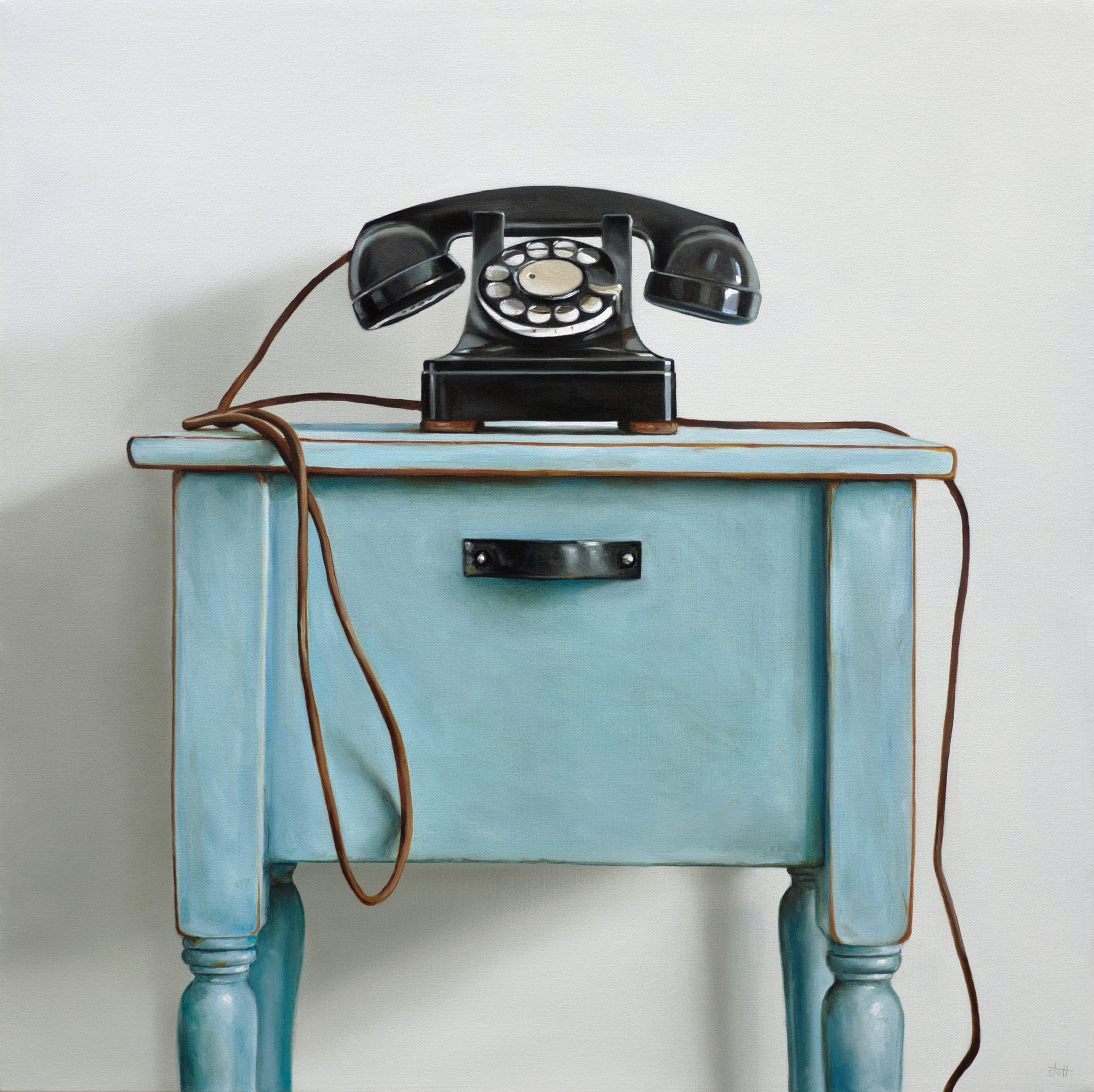 Rotary Telephone & Blue Table by Christopher Stott