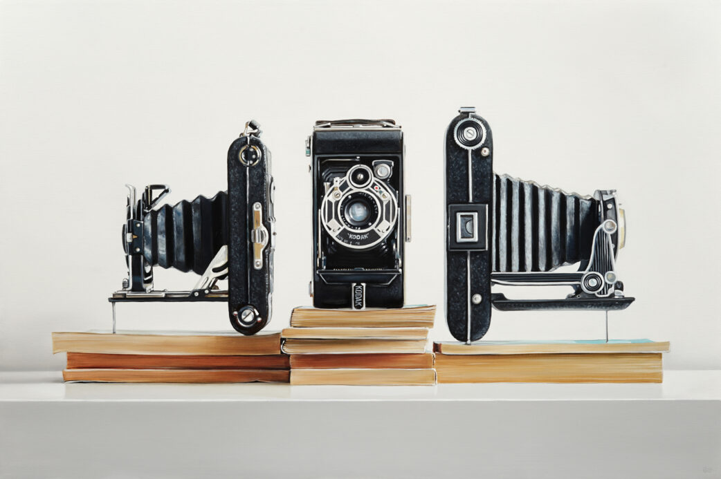 Three Cameras painting by Christopher Stott
