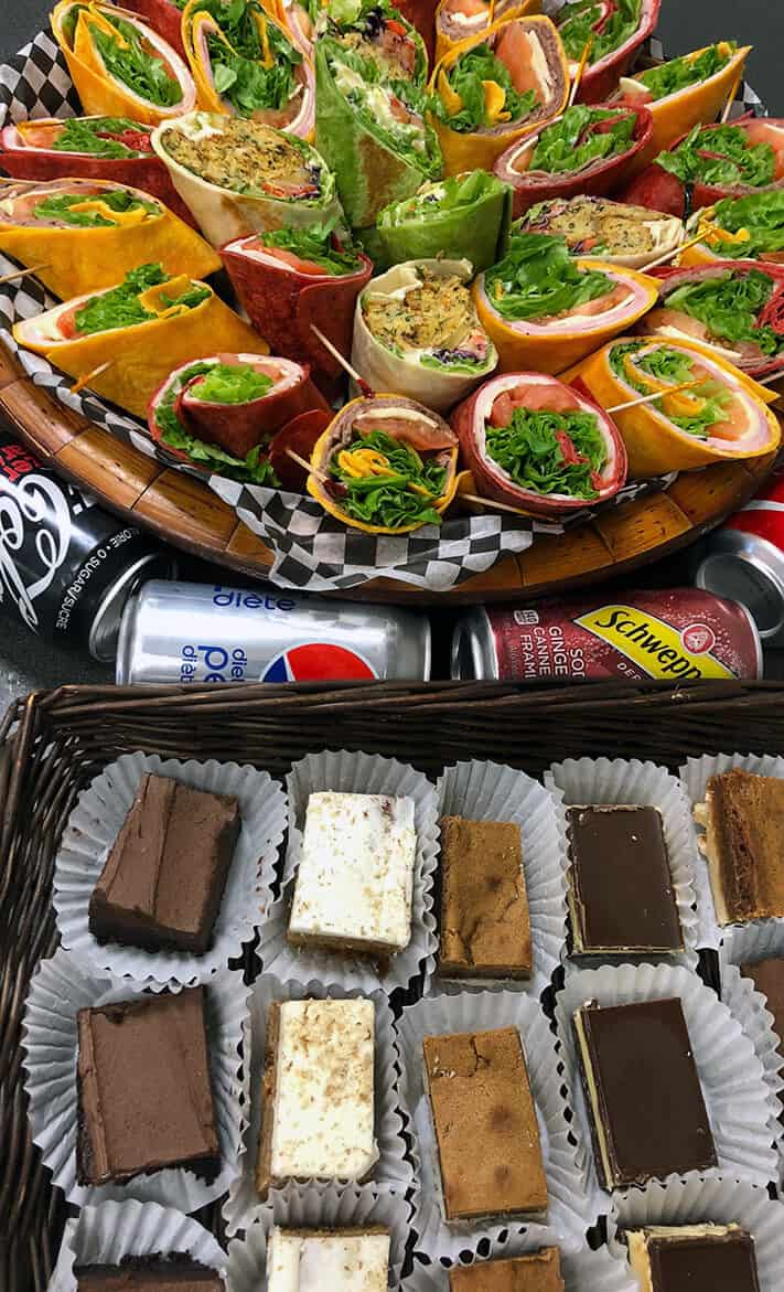 Assorted Sandwich and Wraps, dessert options and pop