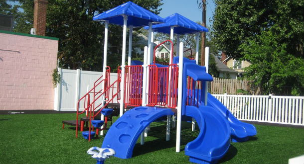 Blue-red playground of The Nest Academy Learning Preschool in Alexandria VA
