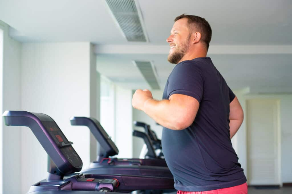 big and heavy person on a treadmill