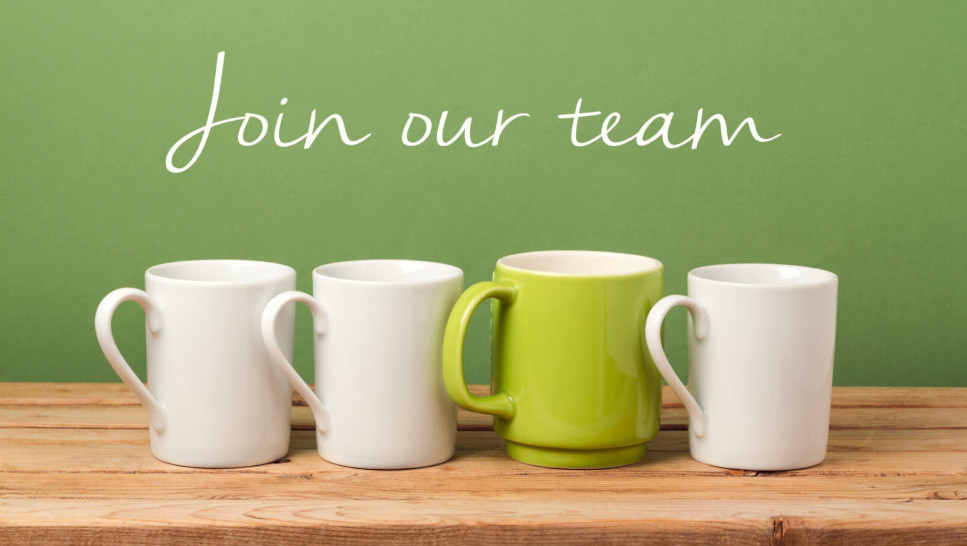 """Job recruit concept with coffee cups and text """"Join our team"""". Business background"""
