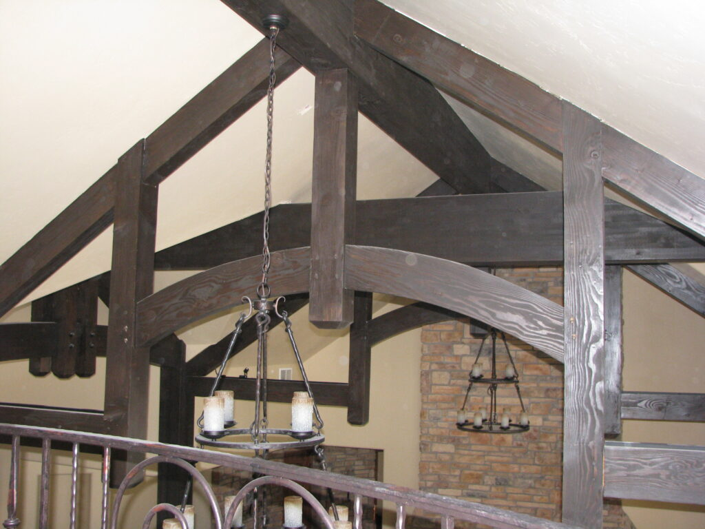decorative timber truss, arched bottom, timber beams