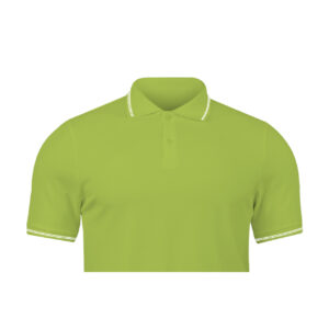 Ruffty Apple Green Collar Neck T-shirt With White Tipping