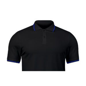 Ruffty Black Collar Neck T-shirt With Blue Tipping