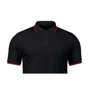 Ruffty Black Collar Neck T-shirt With Red Tipping