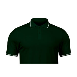 Ruffty Bottle Green Collar Neck T-shirt With White Tipping