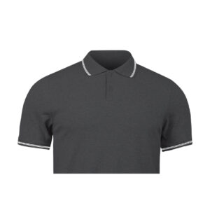 Ruffty Charcoal Melange Collar Neck T-shirt With White Tipping