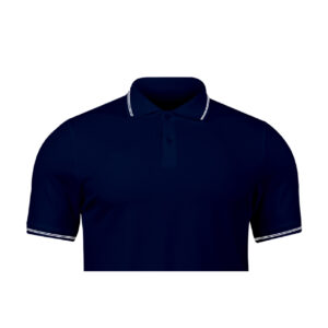 Ruffty Navy Blue Collar Neck T-shirt With White Tipping
