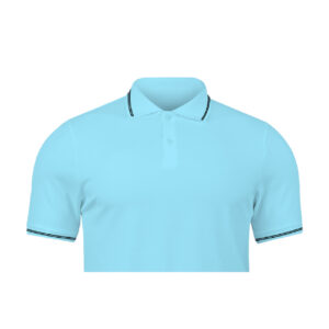 Ruffty Ocean Blue Collar Neck T-shirt With Black Tipping