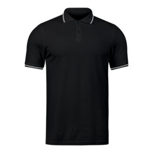 Ruffty Black Collar Neck T-shirt With White Tipping