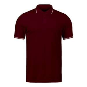 Ruffty Maroon Collar Neck T-shirt With White Tipping