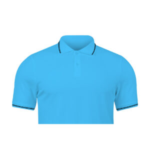Ruffty Sky Blue Collar Neck T-shirt With Black Tipping
