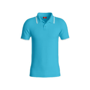 Teal Blue Premium Performance DryFit Collar T-shirt With White Tipping